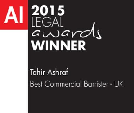 AI 2015 Legal Awards Winner Tahir Ashraf Best Commercial Barrister - UK